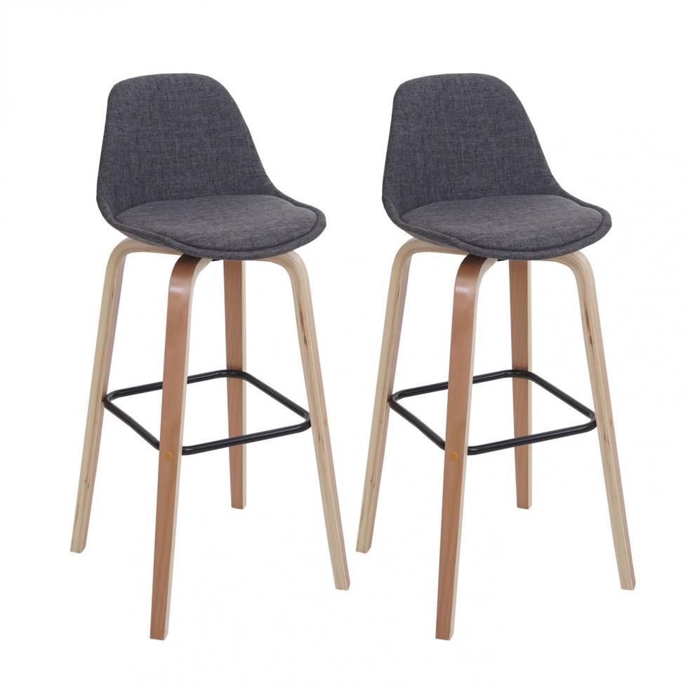 2x barhocker mwc a89 barstuhl tresenhocker mit lehne textil grau ebay. Black Bedroom Furniture Sets. Home Design Ideas