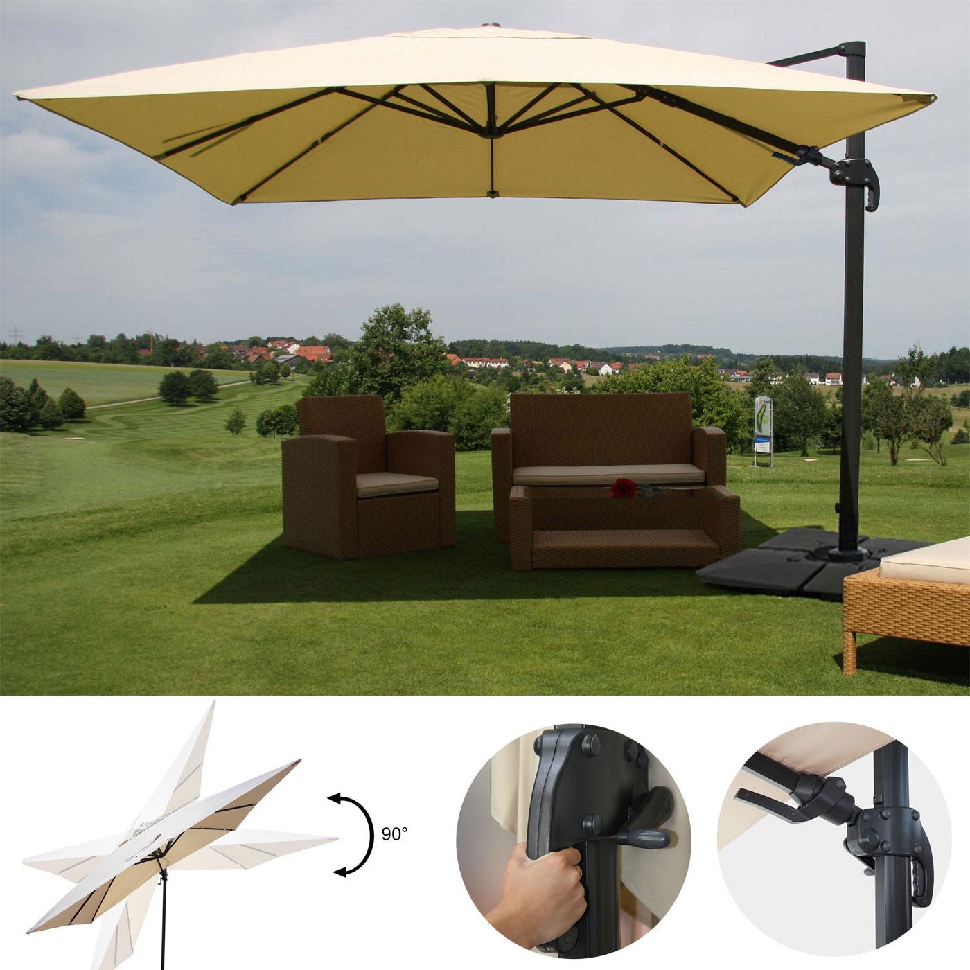 gastronomie luxus ampelschirm hwc schwenkbar kippbar alu 3x4m creme mit st nder. Black Bedroom Furniture Sets. Home Design Ideas