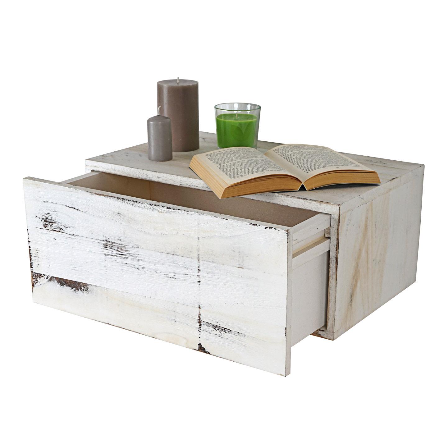 wandregal dinant schubladen regal shabby look vintage 21x46x30cm wei. Black Bedroom Furniture Sets. Home Design Ideas