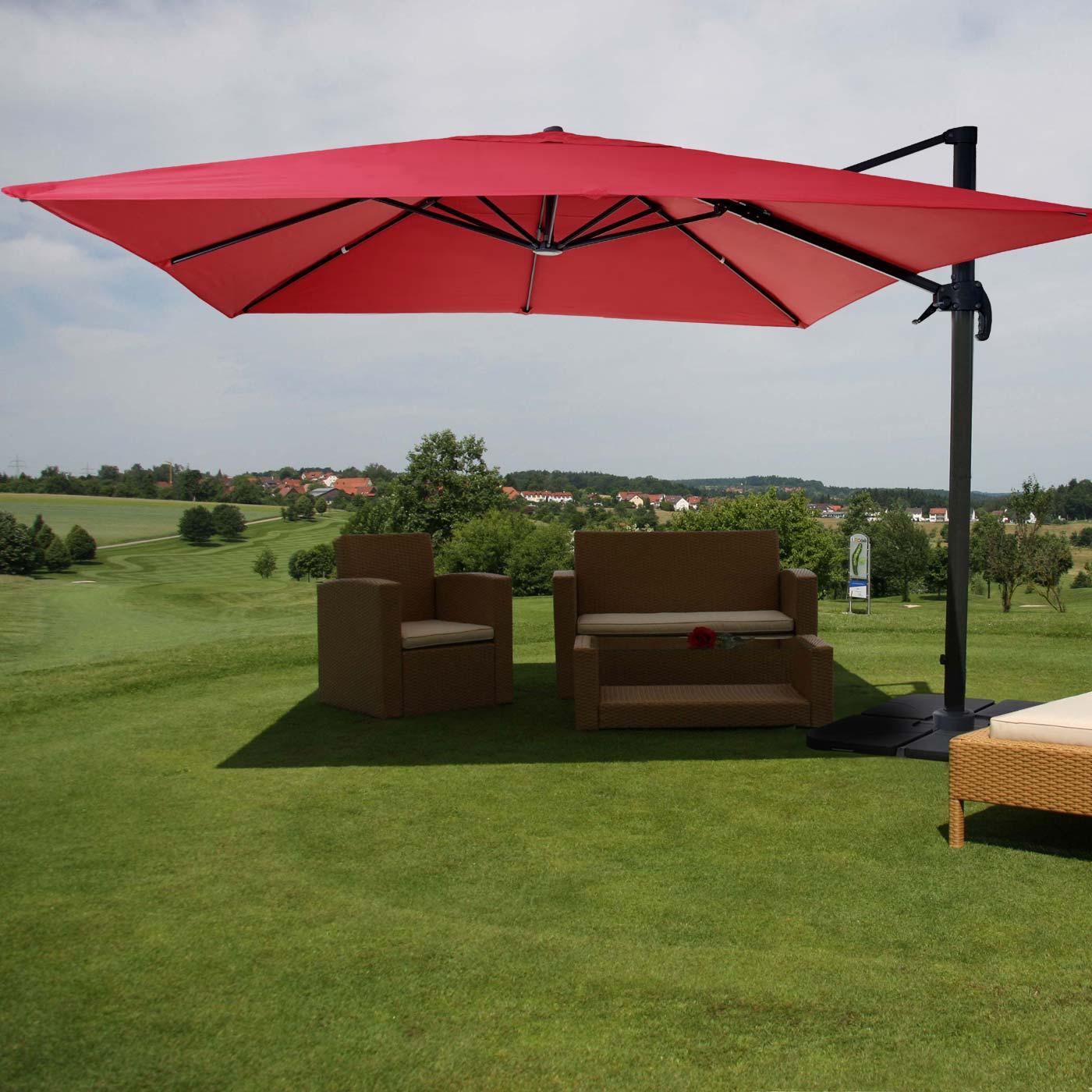 gastronomie luxus ampelschirm hwc sonnenschirm 3x3m rot. Black Bedroom Furniture Sets. Home Design Ideas