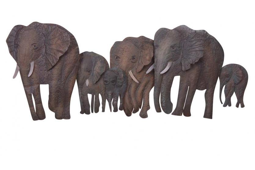 wanddekoration h52 wandbild metallfigur 46x110x10cm elefantenfamilie. Black Bedroom Furniture Sets. Home Design Ideas