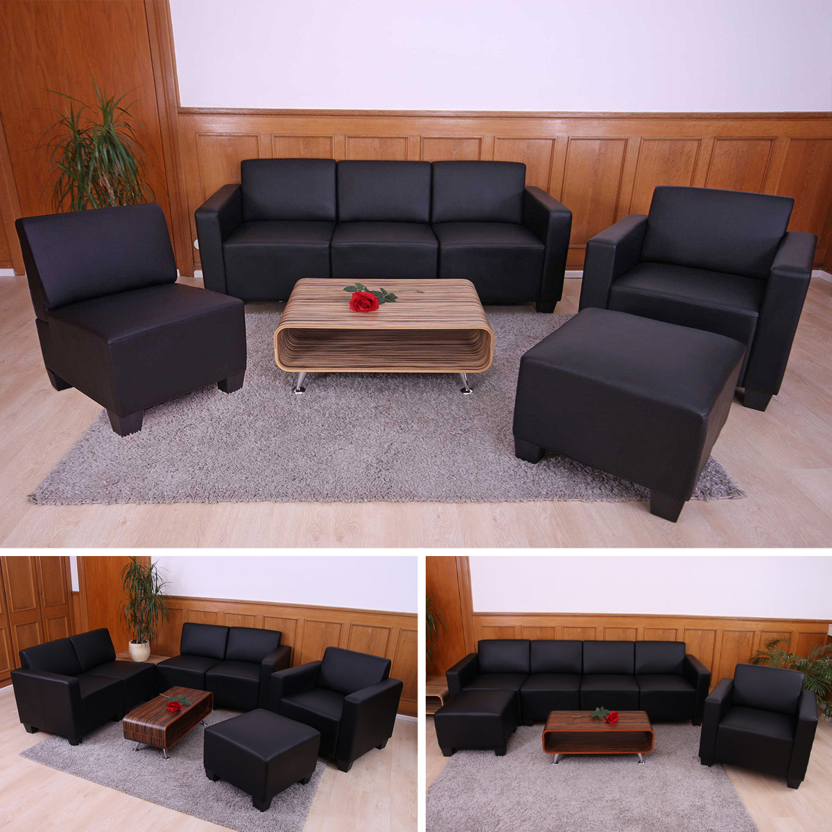 modular sofa system couch garnitur lyon 3 1 1 1 kunstleder schwarz. Black Bedroom Furniture Sets. Home Design Ideas