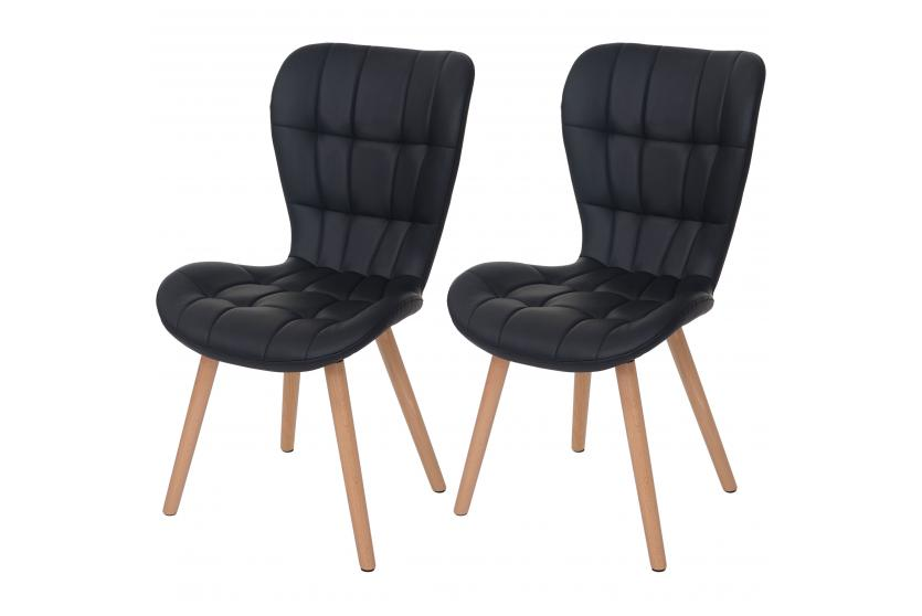 2x esszimmerstuhl hwc a87 stuhl lehnstuhl retro 50er jahre design kunstleder schwarz. Black Bedroom Furniture Sets. Home Design Ideas