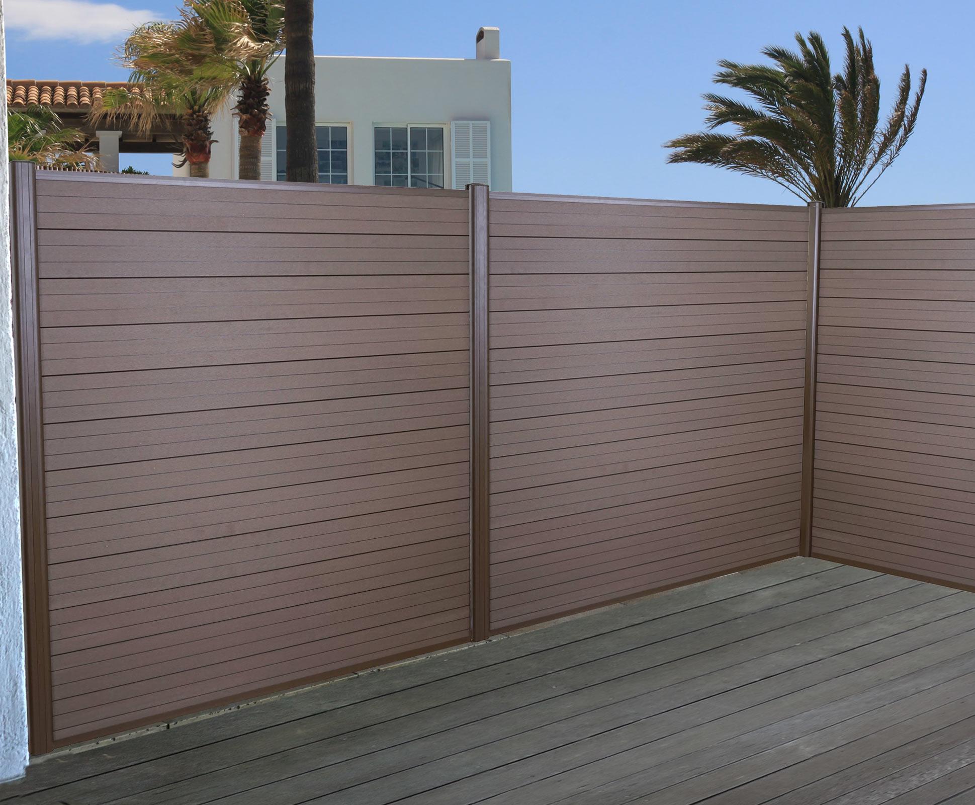 wpc sichtschutz sarthe windschutz zaun alu pfosten 3er set 5 6m braun. Black Bedroom Furniture Sets. Home Design Ideas