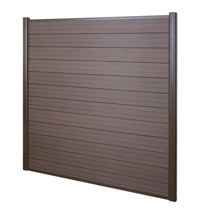 wpc sichtschutz sarthe windschutz zaun alu pfosten basiselement 1 90m braun. Black Bedroom Furniture Sets. Home Design Ideas
