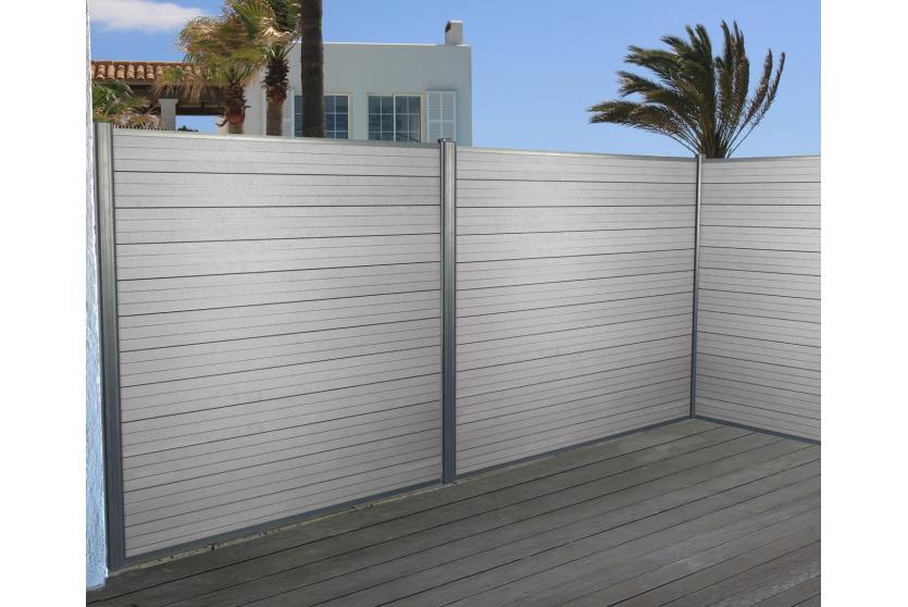 wpc sichtschutz sarthe windschutz zaun alu pfosten 3er set 5 6m grau. Black Bedroom Furniture Sets. Home Design Ideas