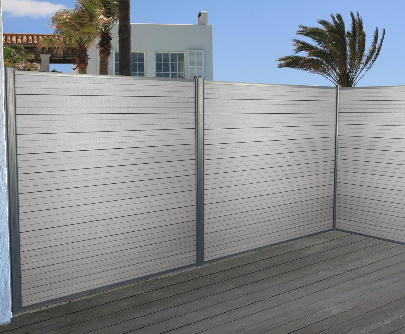 WPC Sichtschutz Sarthe Windschutz Zaun Alu grau oder braun