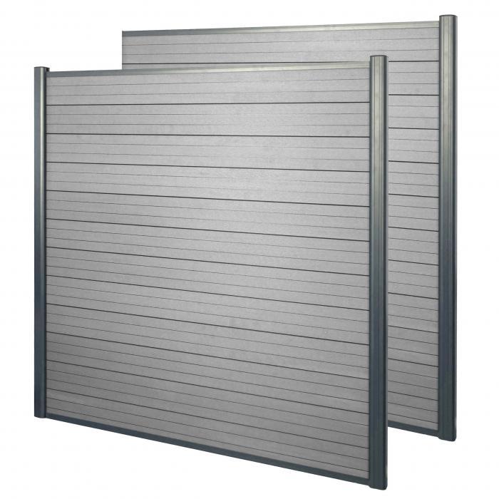 wpc sichtschutz sarthe windschutz zaun alu pfosten 2er set 3 75m grau. Black Bedroom Furniture Sets. Home Design Ideas