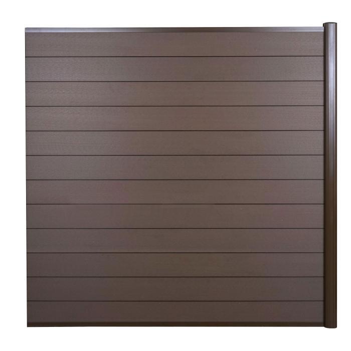 wpc sichtschutz sarthe windschutz zaun alu pfosten erweiterungselement 1 85m braun. Black Bedroom Furniture Sets. Home Design Ideas