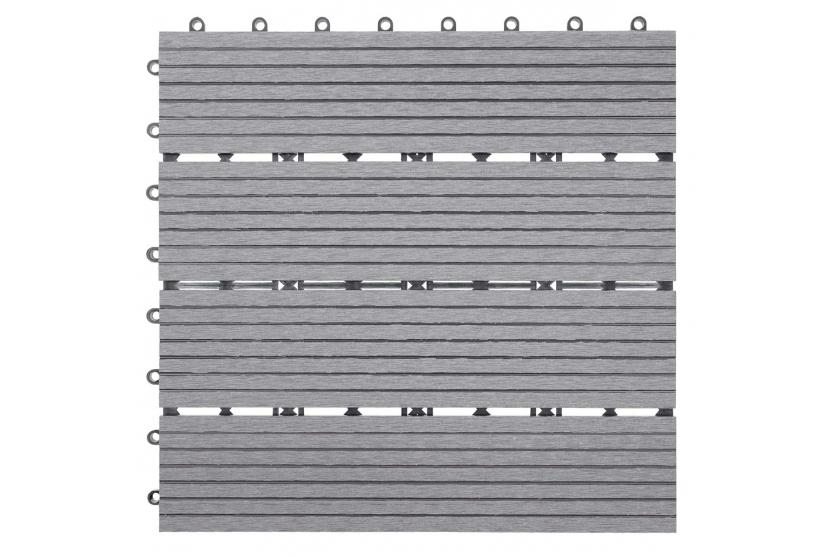Wpc bodenfliese rhone holzoptik balkon terrasse 11x je 30x30cm 1qm basis grau linear - Bodenfliesen balkon kunststoff ...
