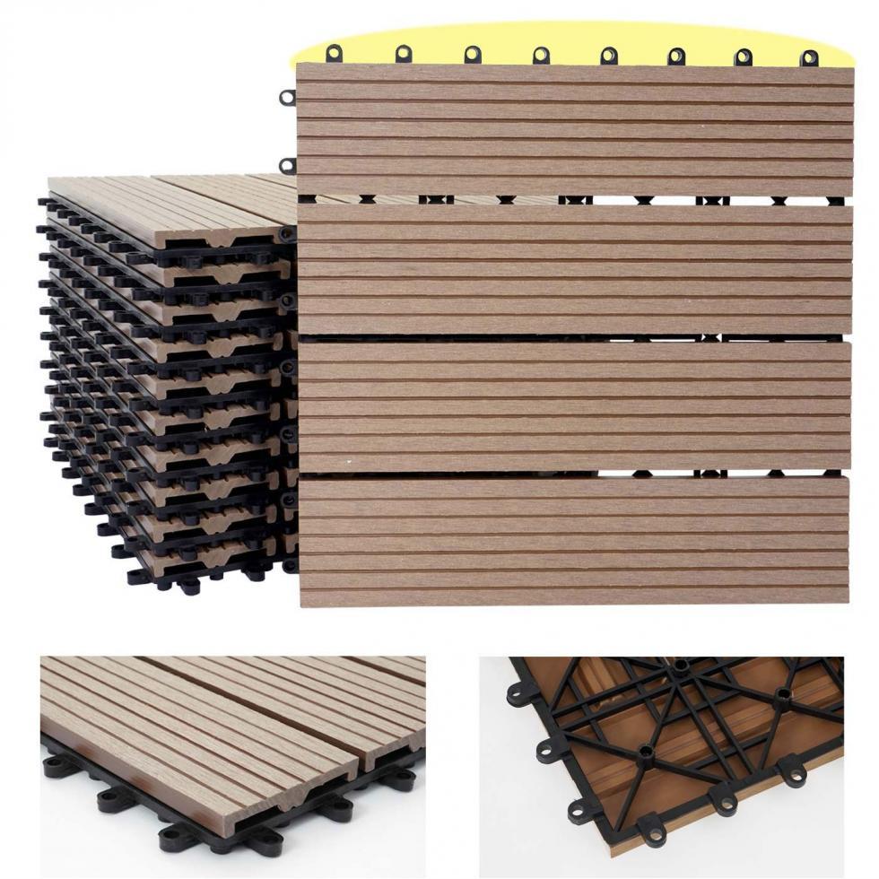 1qm WPC Holz Fliesen Sarthe Bodenfliesen Balkon Terrasse