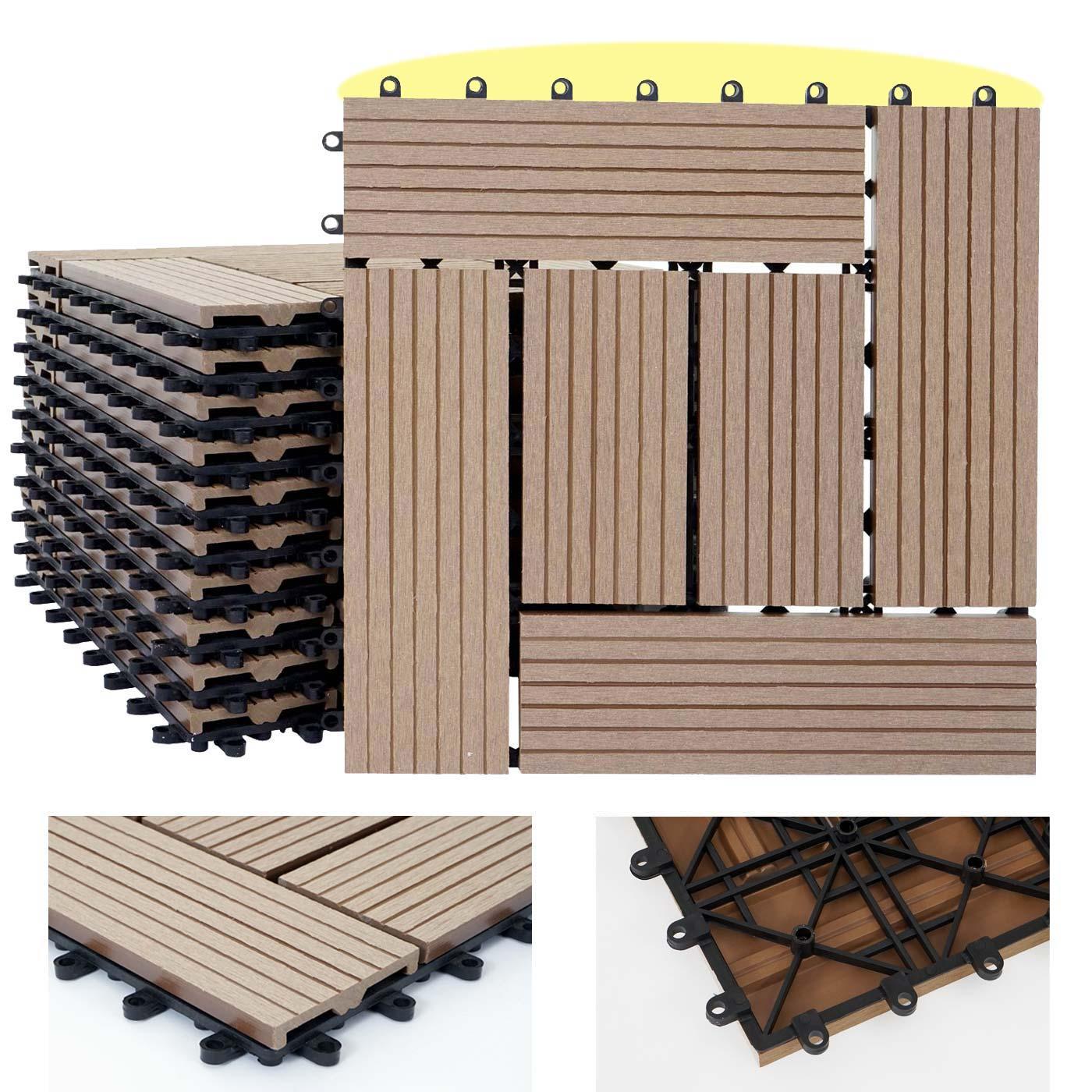 1qm wpc holz fliesen rhone bodenfliesen balkon terrasse 11 st ck je 30x30cm ebay. Black Bedroom Furniture Sets. Home Design Ideas