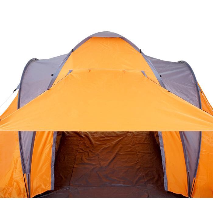 Camping Zelt Orange//Grau Outdoor Zelt Schirmsystem Kuppelzelt bis zu 3 Personen