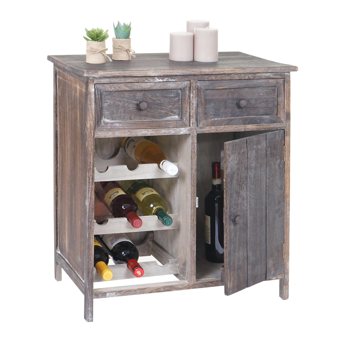 weinregal ithaka flaschenregal kommode regal f r 9 flaschen shabby look vintage braun. Black Bedroom Furniture Sets. Home Design Ideas
