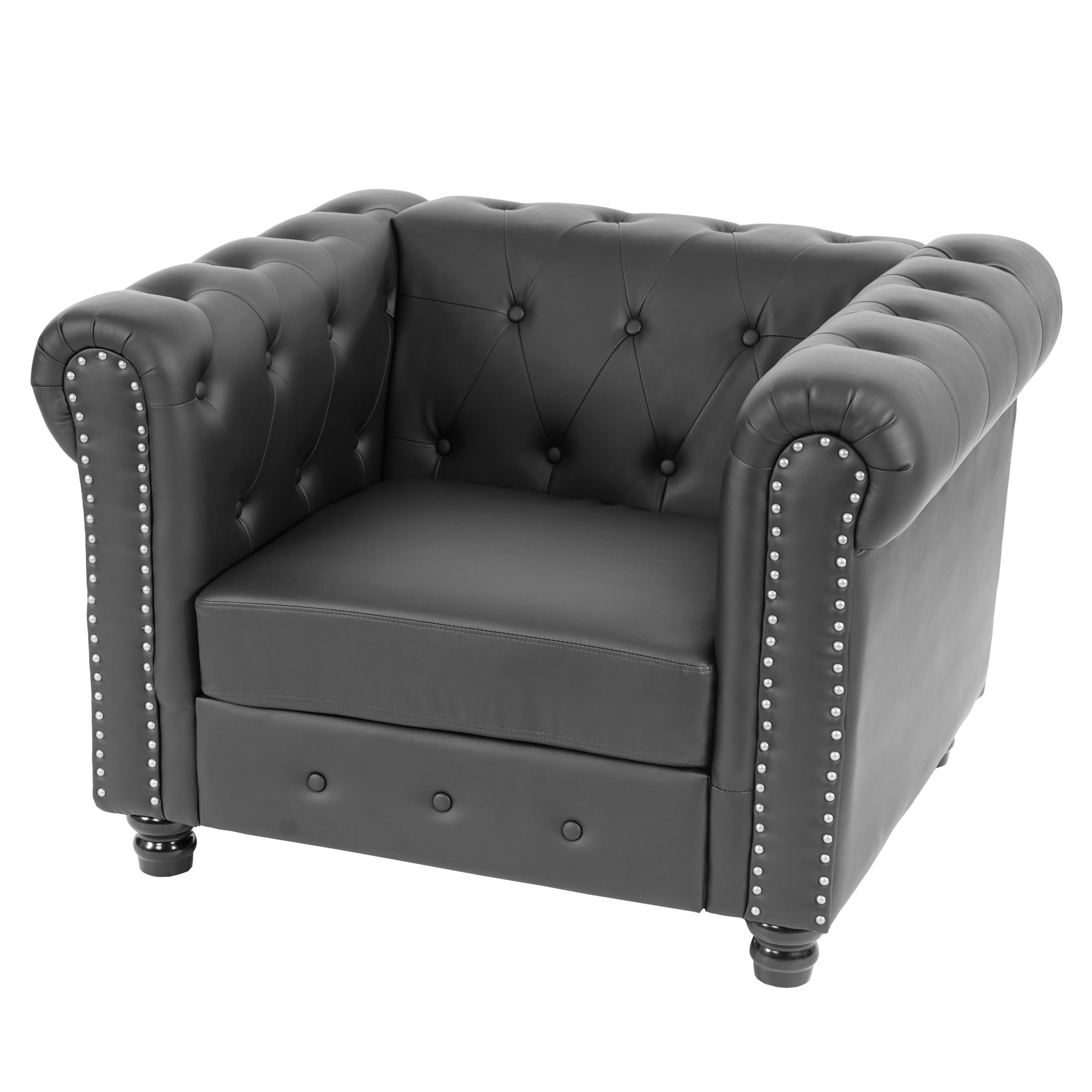 luxus sessel loungesessel relaxsessel chesterfield kunstleder runde f e schwarz. Black Bedroom Furniture Sets. Home Design Ideas