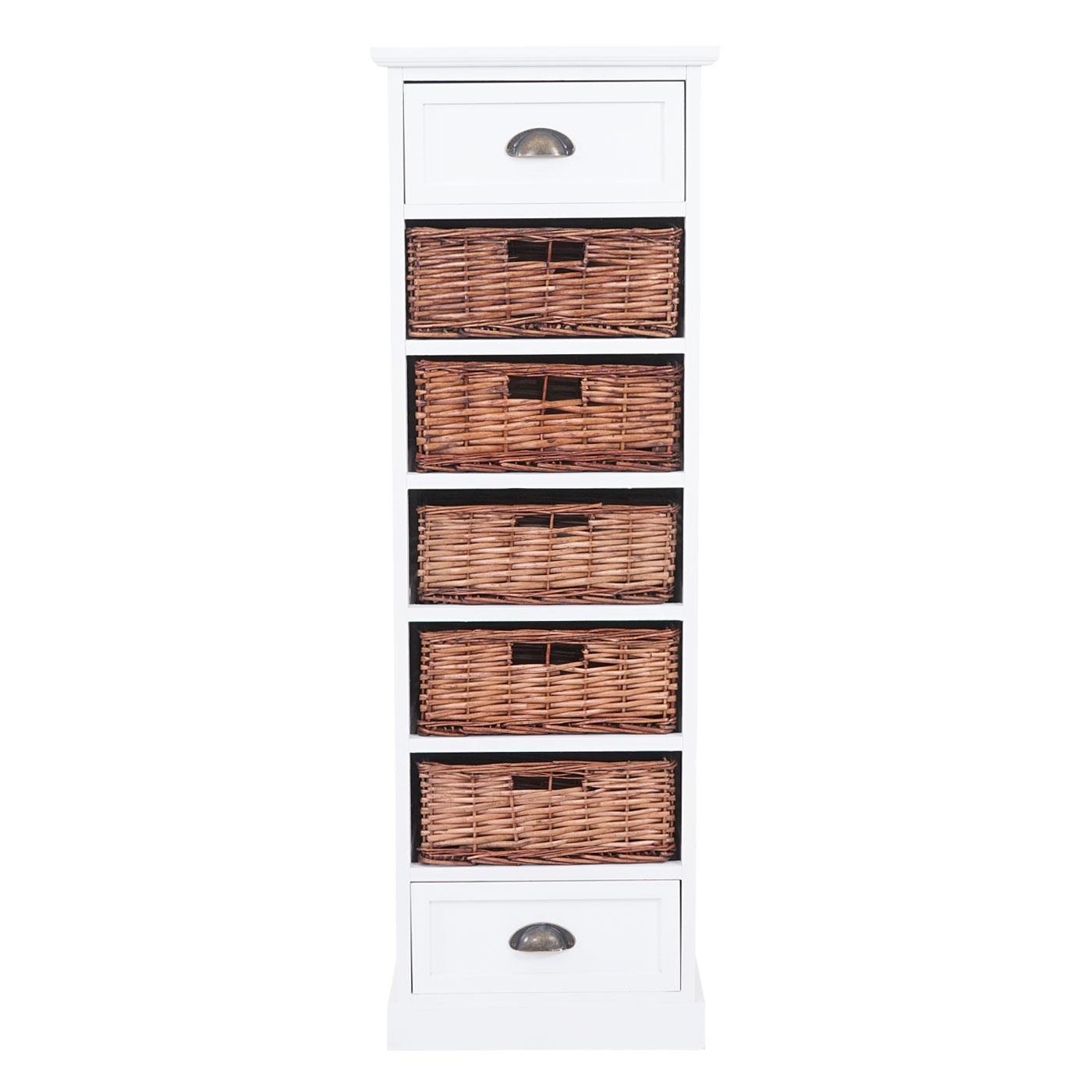 de tiroir armoire étagère 2 tiroirs 5 paniers Blanc 120x40x30cm Commode Nancy