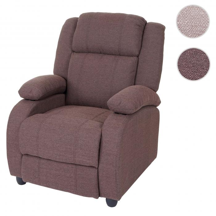 Fernsehsessel Lincoln, Relaxsessel Liege Sessel, Stoff/Textil ~ mahagony