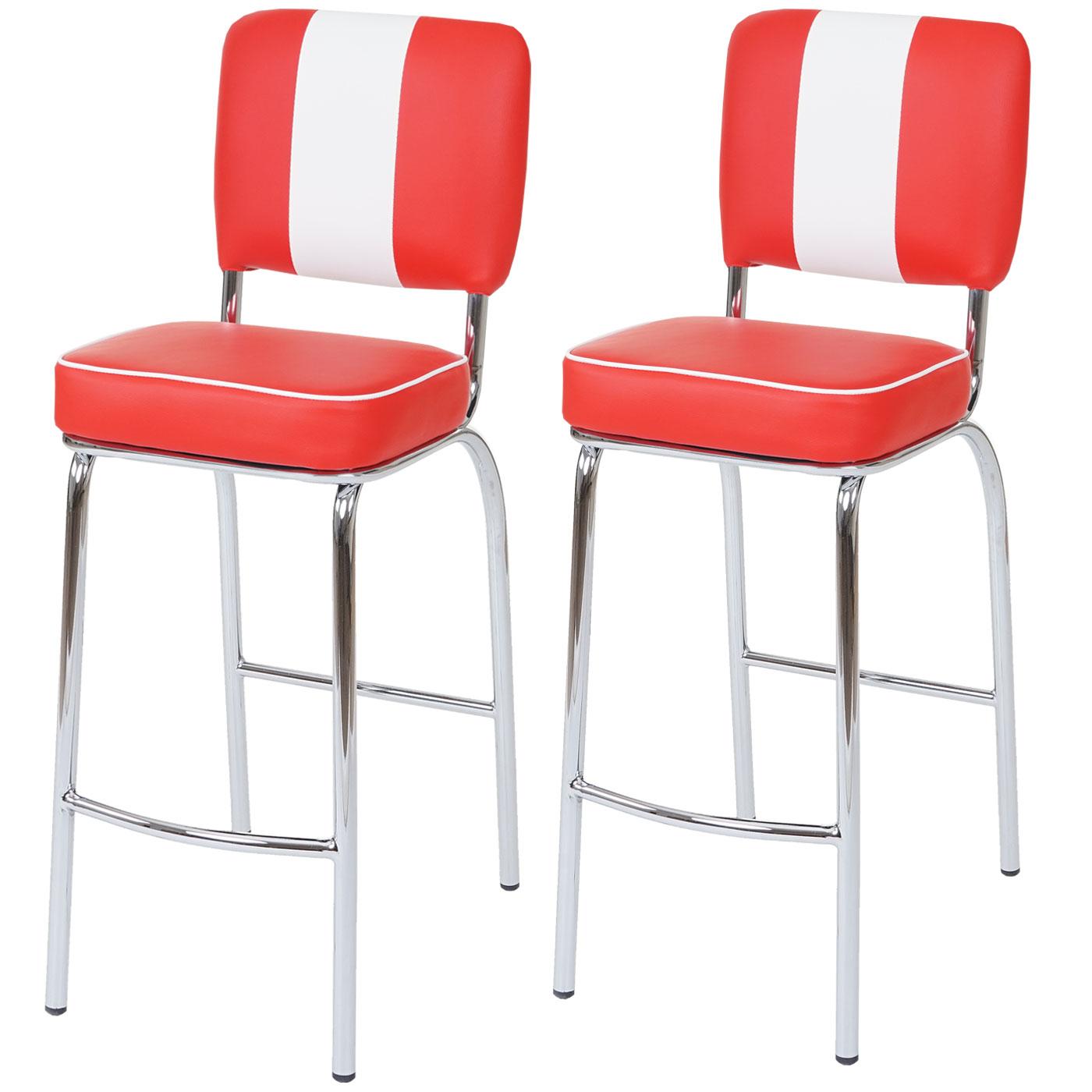2x barhocker avellino barstuhl tresenhocker retro 50er jahre design kunstleder rot wei. Black Bedroom Furniture Sets. Home Design Ideas