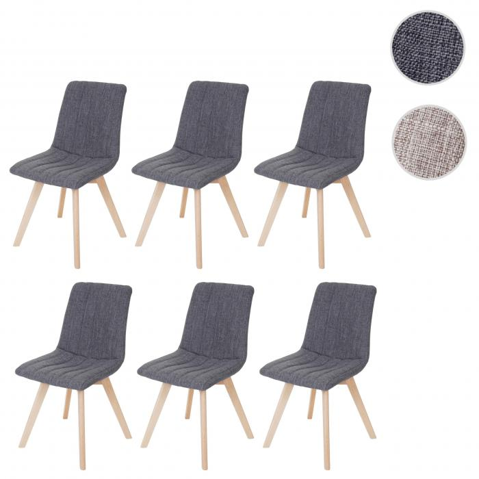 6x esszimmerstuhl calgary stuhl lehnstuhl retro 50er jahre design stoff textil grau. Black Bedroom Furniture Sets. Home Design Ideas