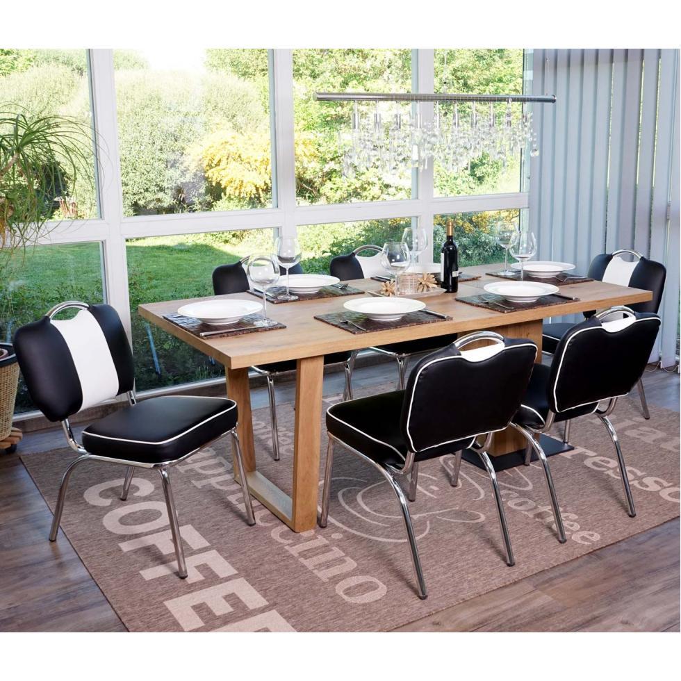 Détails sur 6x Chaise Avellino, Chaise de Salle à Manger Fauteuil,  Noir-Blanc Rétro Design