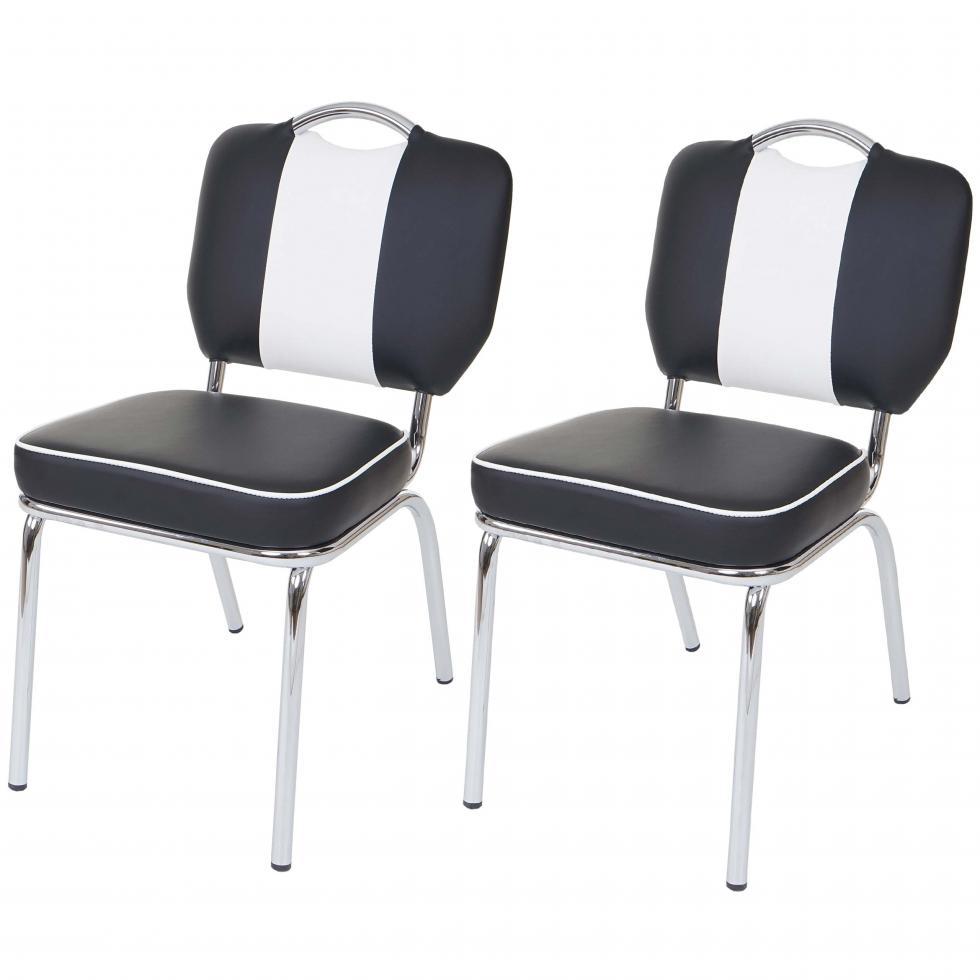 2x esszimmerstuhl avellino stuhl lehnstuhl retro design schwarz wei ebay. Black Bedroom Furniture Sets. Home Design Ideas