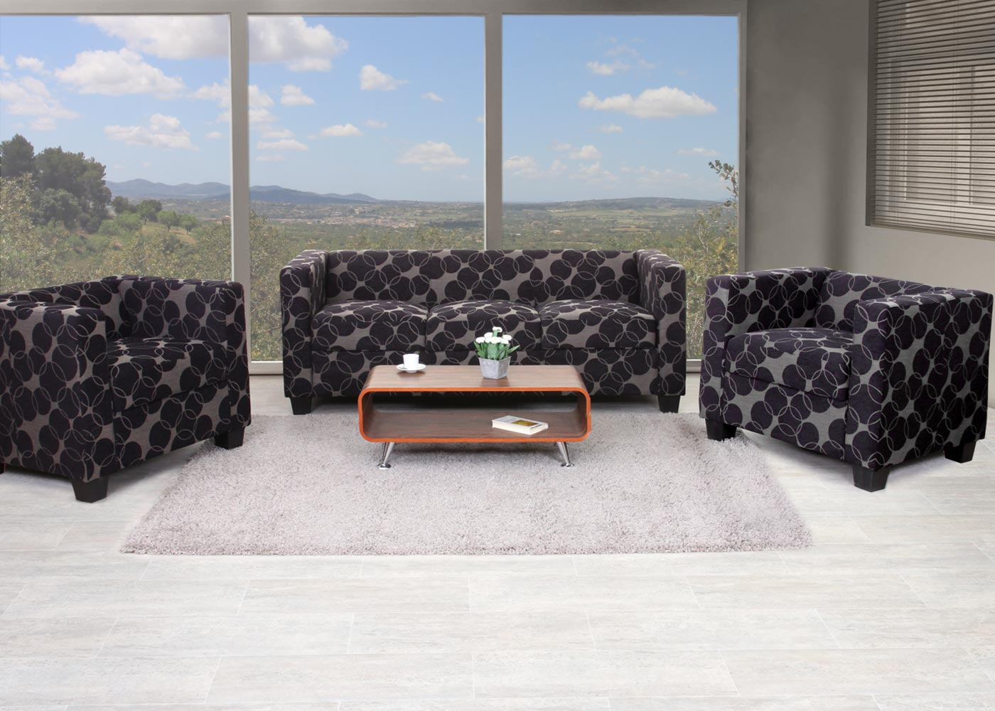 3 1 1 sofagarnitur couchgarnitur loungesofa lille textil grau schwarz. Black Bedroom Furniture Sets. Home Design Ideas
