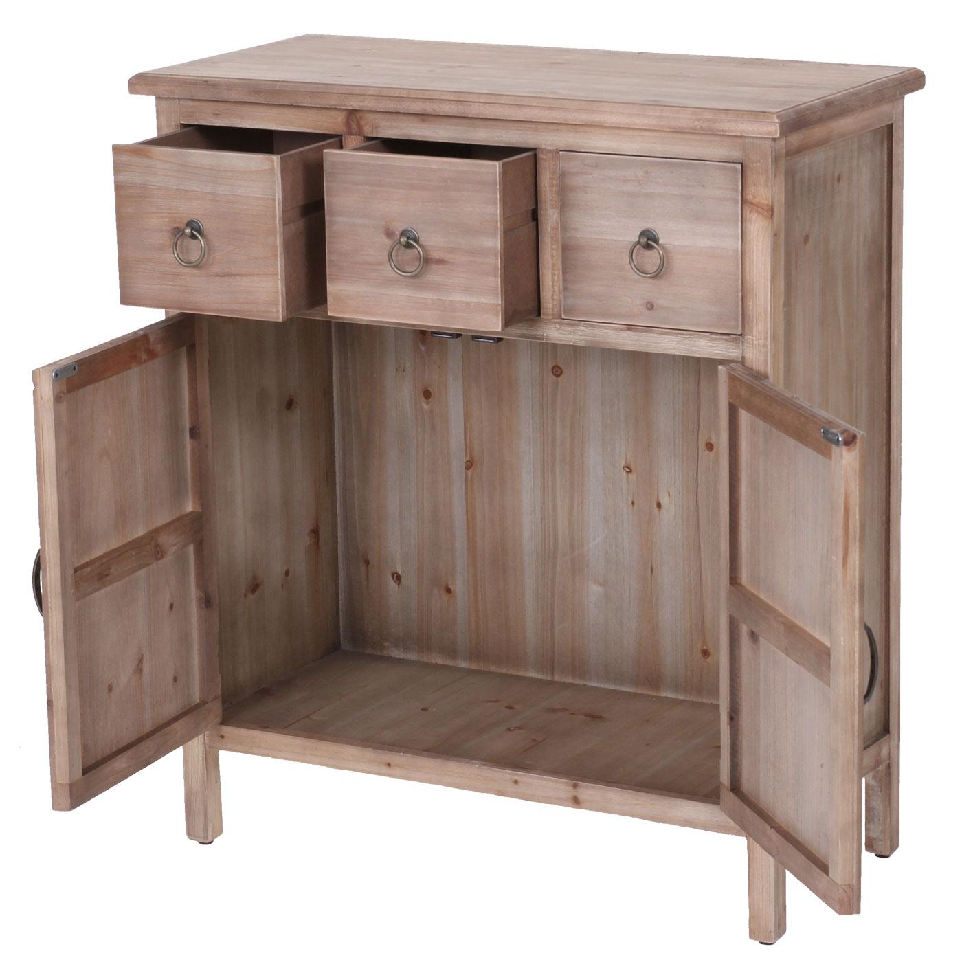 kommode venedig 3 schubladen 1 staufach vintage massiv tanne braun 85x75x35cm ebay. Black Bedroom Furniture Sets. Home Design Ideas