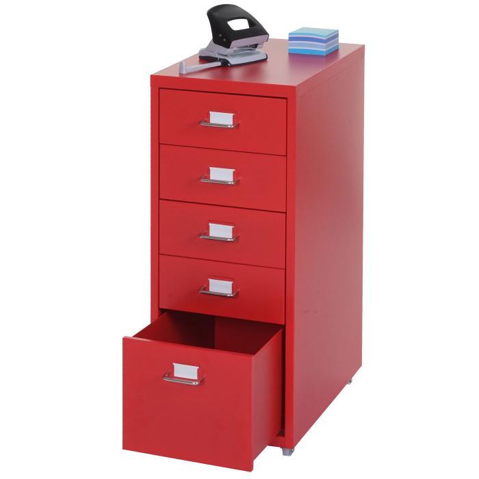 Rollcontainer Rot boston t851 schubladenschrank stahlschrank 69x28x44cm 5 schubladen