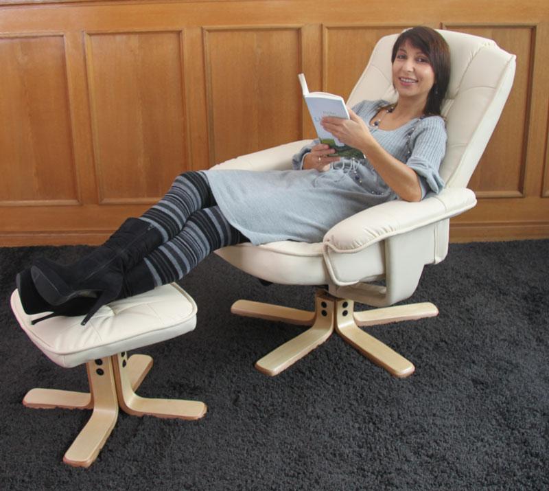 relaxsessel fernsehsessel sessel mit hocker m56 kunstleder creme. Black Bedroom Furniture Sets. Home Design Ideas