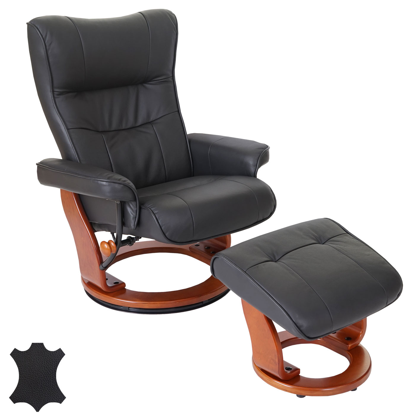 leder relaxsessel tv sessel mit hocker relaxliege fernsehsessel schwarz 56048 ebay. Black Bedroom Furniture Sets. Home Design Ideas