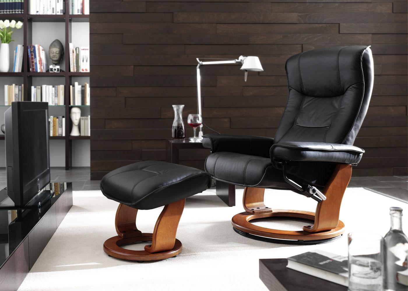 mca fauteuil relax de t l hamilton tabouret cuir charge 130kg cr me dor ebay. Black Bedroom Furniture Sets. Home Design Ideas