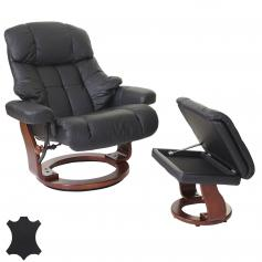 MCA Relaxsessel Calgary XXL, TV-Sessel Hocker, Echtleder 180kg belastbar ~ schwarz, Walnuss-Optik