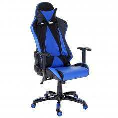 Profi-Bürostuhl Loksa T682 XXL, Drehstuhl Racing-Chair Gaming-Chair, 150kg belastbar Kunstleder ~ blau
