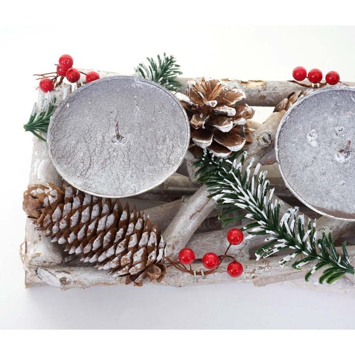 adventskranz l nglich weihnachtsdeko adventsgesteck holz 11x15x50cm wei grau ohne kerzen. Black Bedroom Furniture Sets. Home Design Ideas