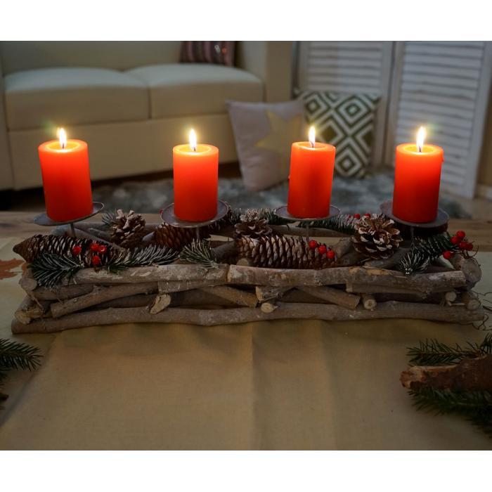 adventskranz l nglich weihnachtsdeko adventsgesteck holz. Black Bedroom Furniture Sets. Home Design Ideas