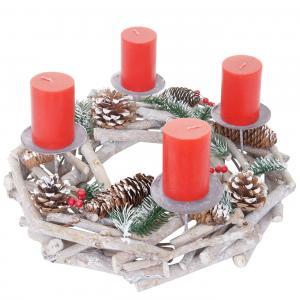 adventskranz rund weihnachtsdeko tischkranz holz 35cm wei grau mit kerzen rot. Black Bedroom Furniture Sets. Home Design Ideas