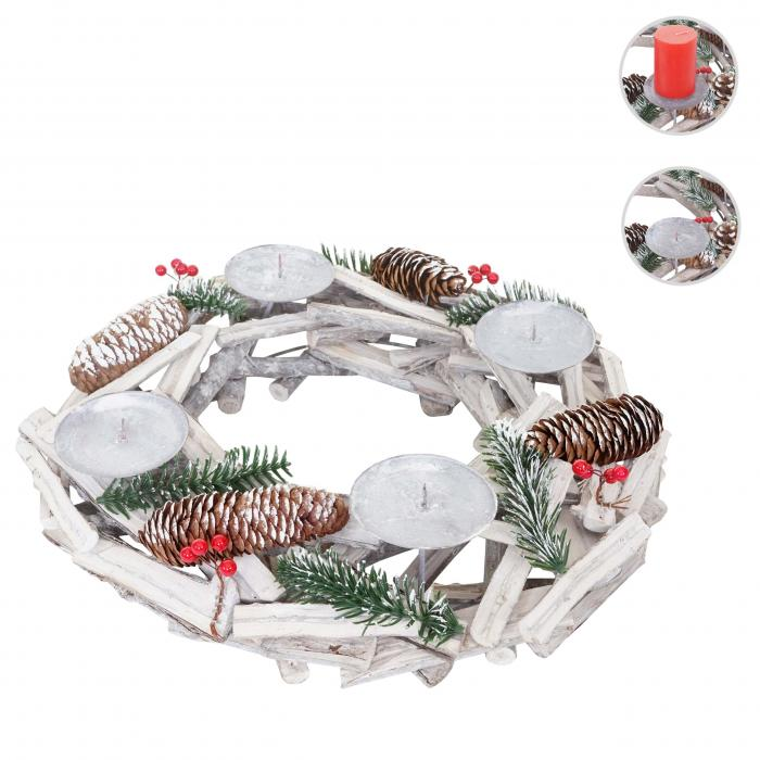 adventskranz rund weihnachtsdeko tischkranz holz 40cm wei grau ohne kerzen. Black Bedroom Furniture Sets. Home Design Ideas
