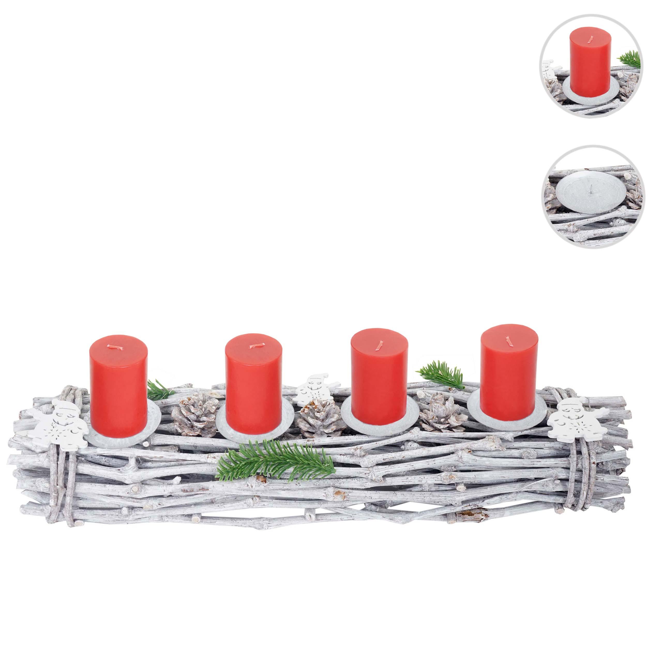 Mendler Adventskranz länglich, Weihnachtsdeko Adventsgesteck, Holz 60x16x9cm weiß-grau ~ Variantenangebot 51909