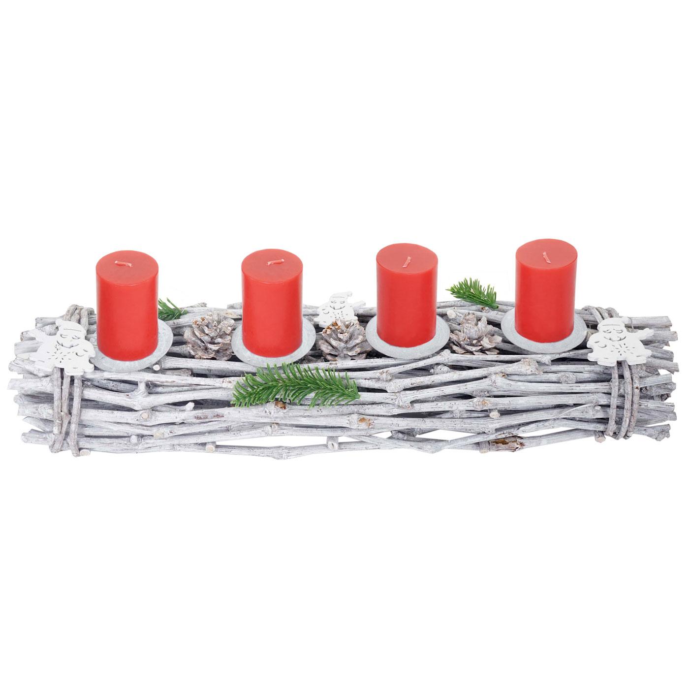adventskranz l nglich weihnachtsdeko adventsgesteck holz 60x16x9cm wei grau mit kerzen rot. Black Bedroom Furniture Sets. Home Design Ideas