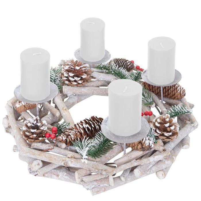 adventskranz rund weihnachtsdeko tischkranz holz 35cm. Black Bedroom Furniture Sets. Home Design Ideas