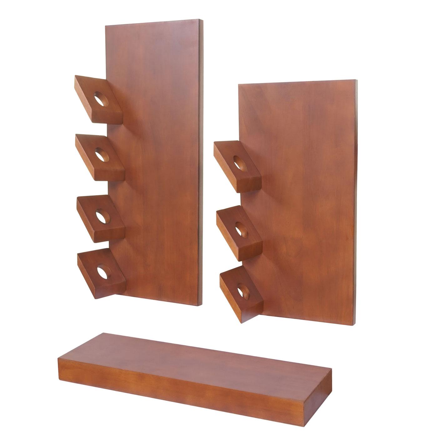 tag re vin mons lot de 3 tag re pour 7 bouteilles bois d 39 eucalyptus ebay. Black Bedroom Furniture Sets. Home Design Ideas