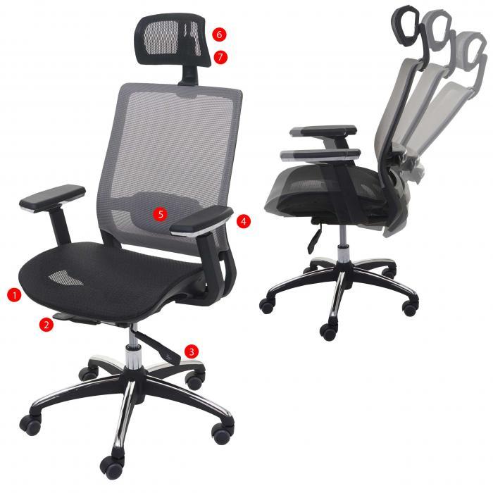 Schreibtischstuhl ergonomisch  HWC-A20, Schreibtischstuhl, ergonomisch Kopfstütze Textil ISO9001 ...