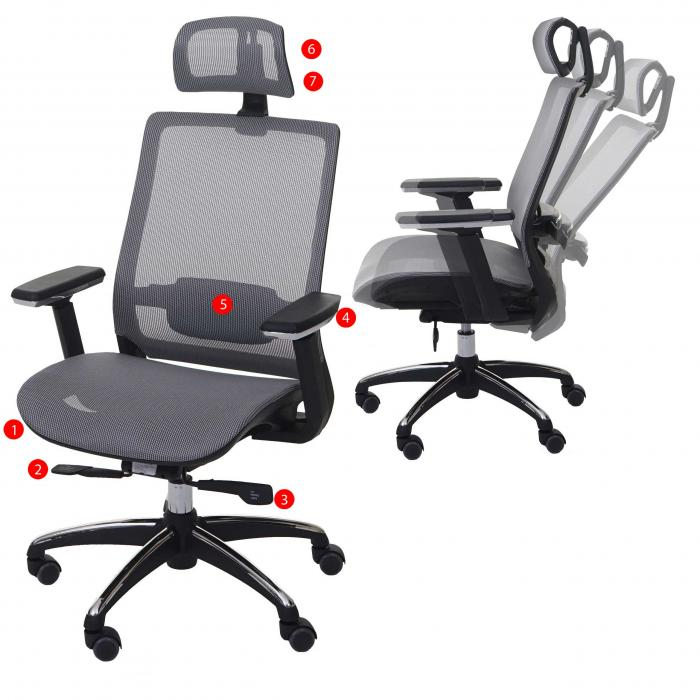 Burostuhl Hwc A20 Schreibtischstuhl Ergonomisch Kopfstutze Stoff