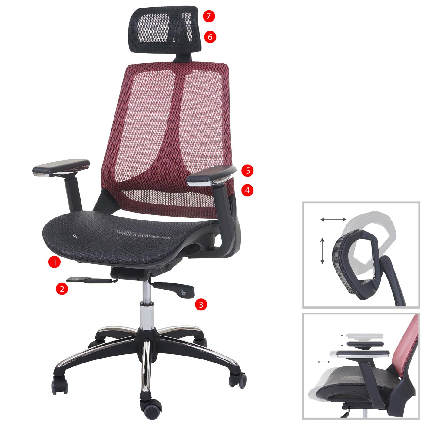 Bürostuhl MCW-A59, Schreibtischstuhl, Sliding-Funktion Textil ISO9001 ~ schwarz/rot