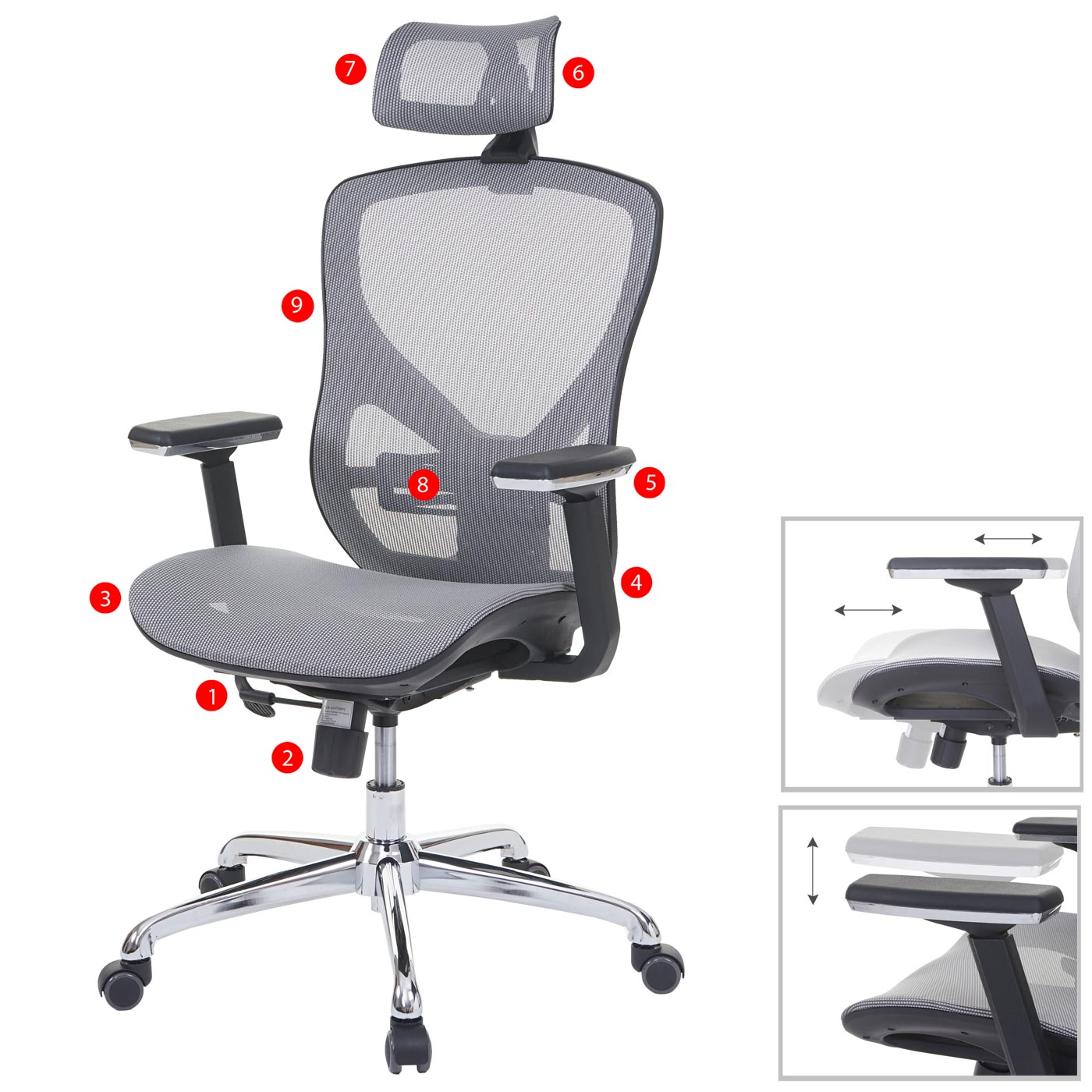 Bürostuhl HWC-A61, Schreibtischstuhl, Sliding-Funktion Textil ISO9001 ~ grau/grau