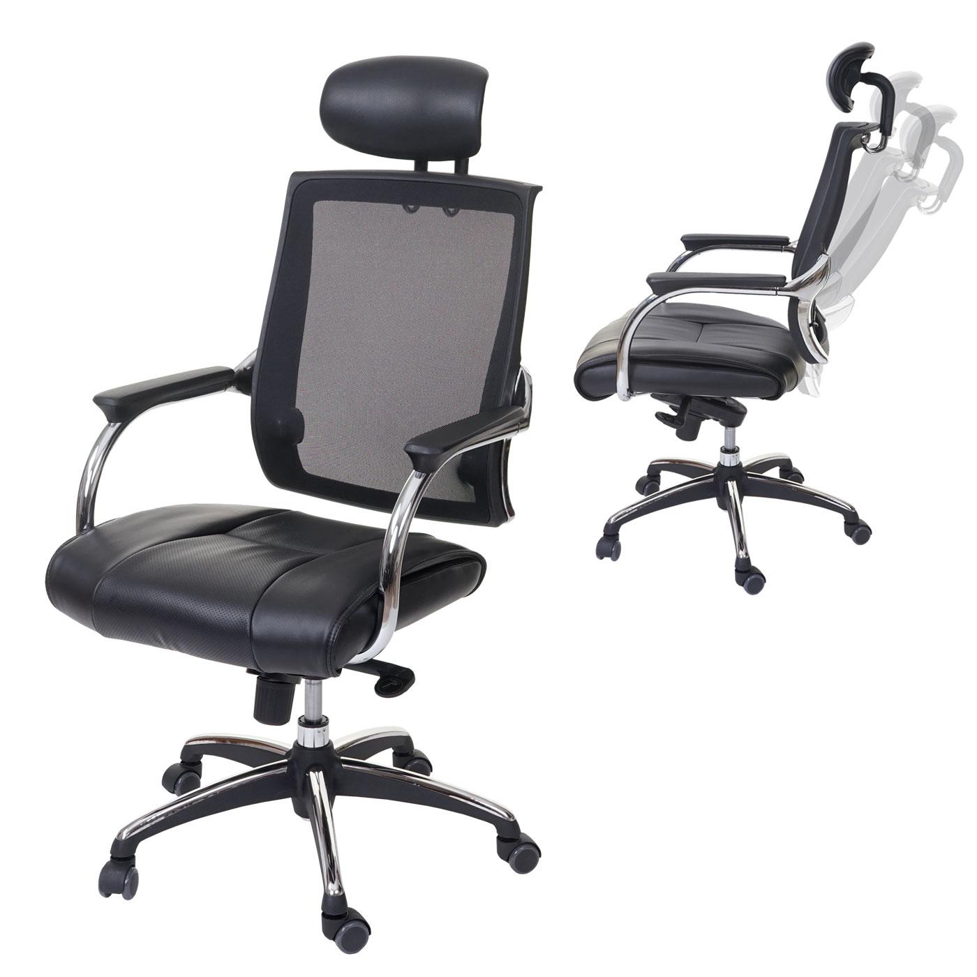 b rostuhl hwc a52 schreibtischstuhl ergonomisch kopfst tze kunstleder textil schwarz schwarz. Black Bedroom Furniture Sets. Home Design Ideas