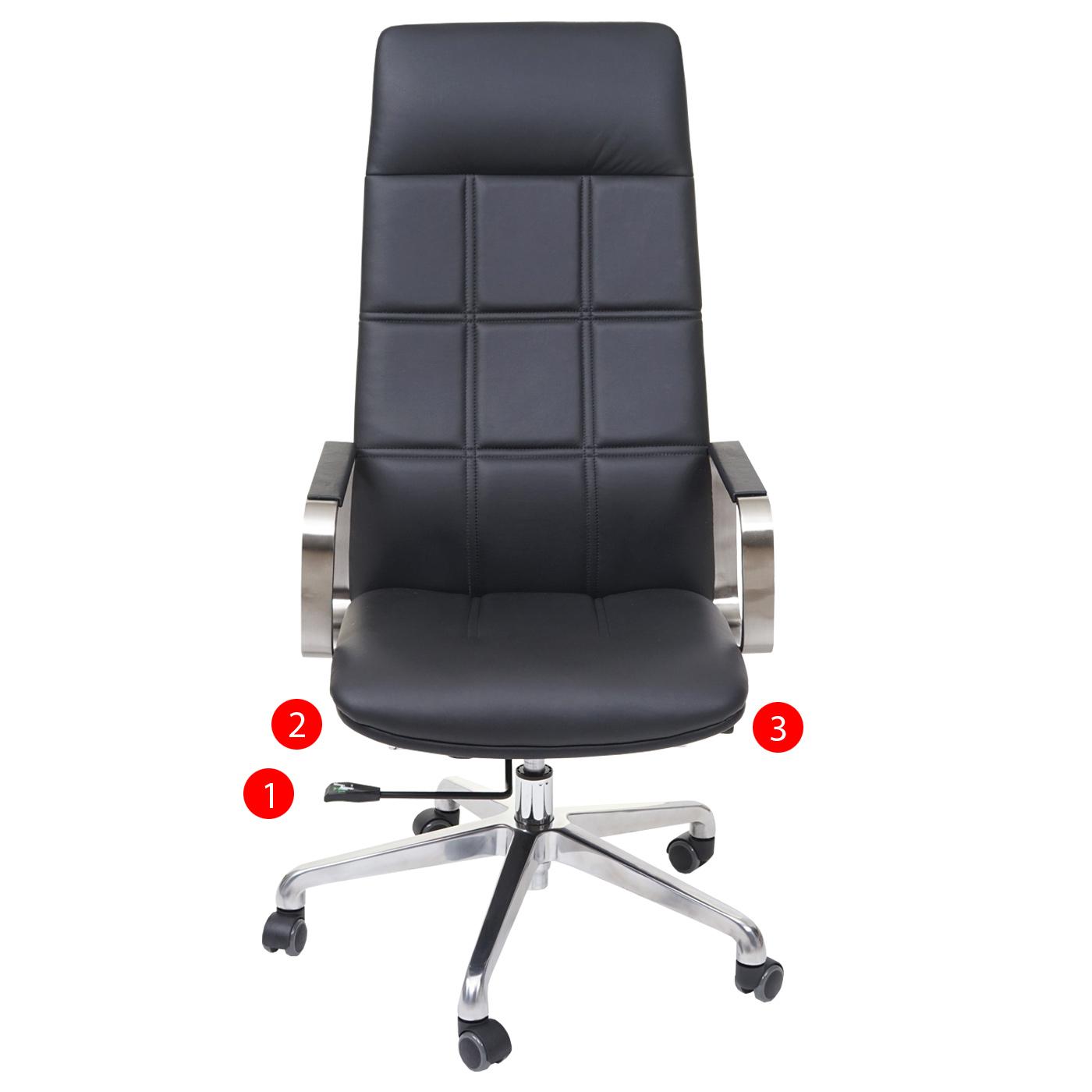 b rostuhl hwc a57 schreibtischstuhl drehstuhl voll leder kunstleder edelstahl iso9001 schwarz. Black Bedroom Furniture Sets. Home Design Ideas