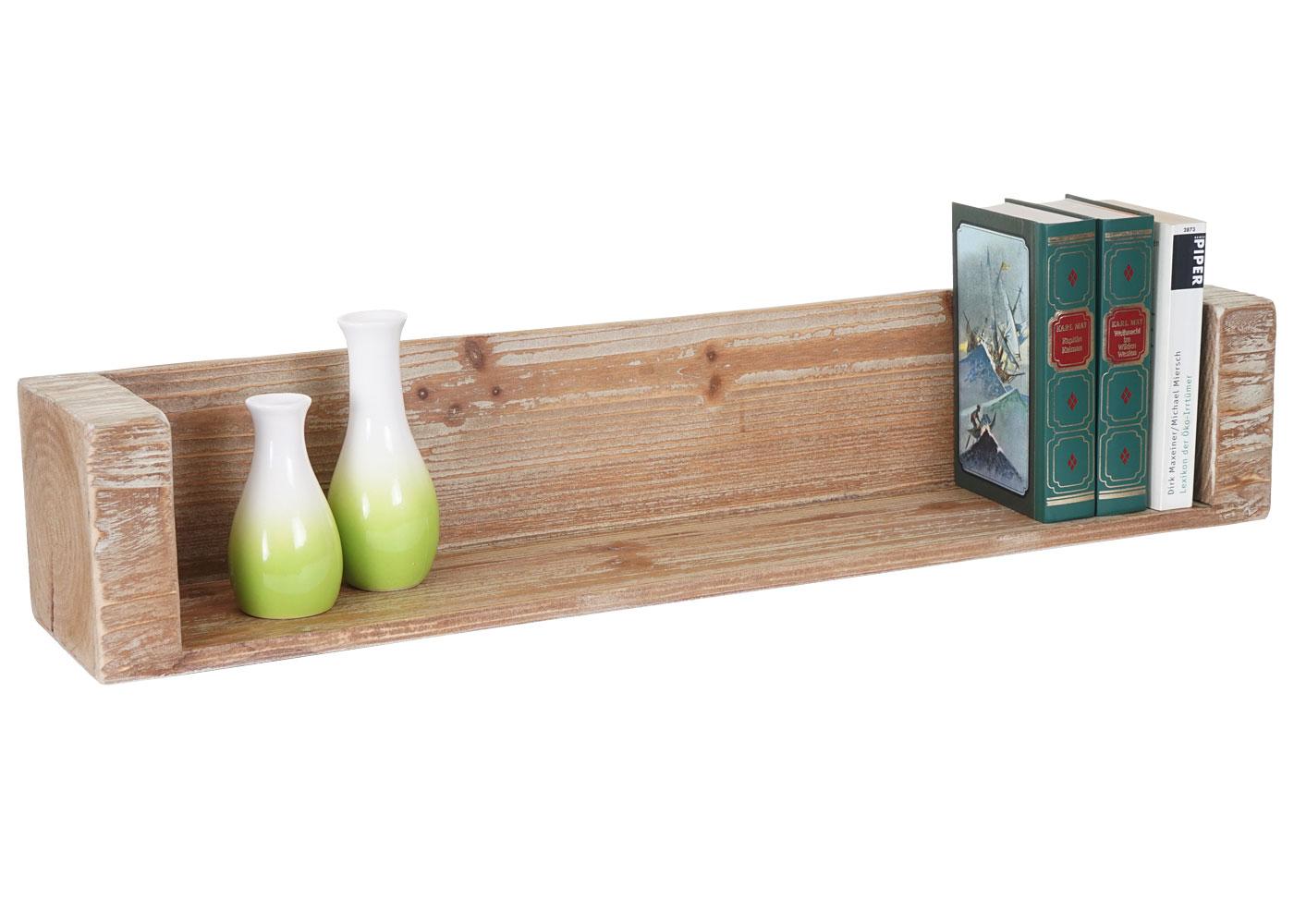 Mendler Wandregal HWC-A15, Hängeregal Bücherregal, Tanne Holz rustikal ~ Variantenangebot 56883