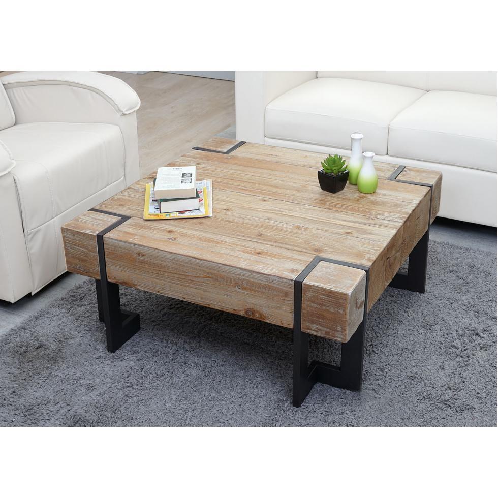 Détails sur Table Basse MCW-A15, Table de Salon, Sapin Bois Rustique Massif  60x60cm