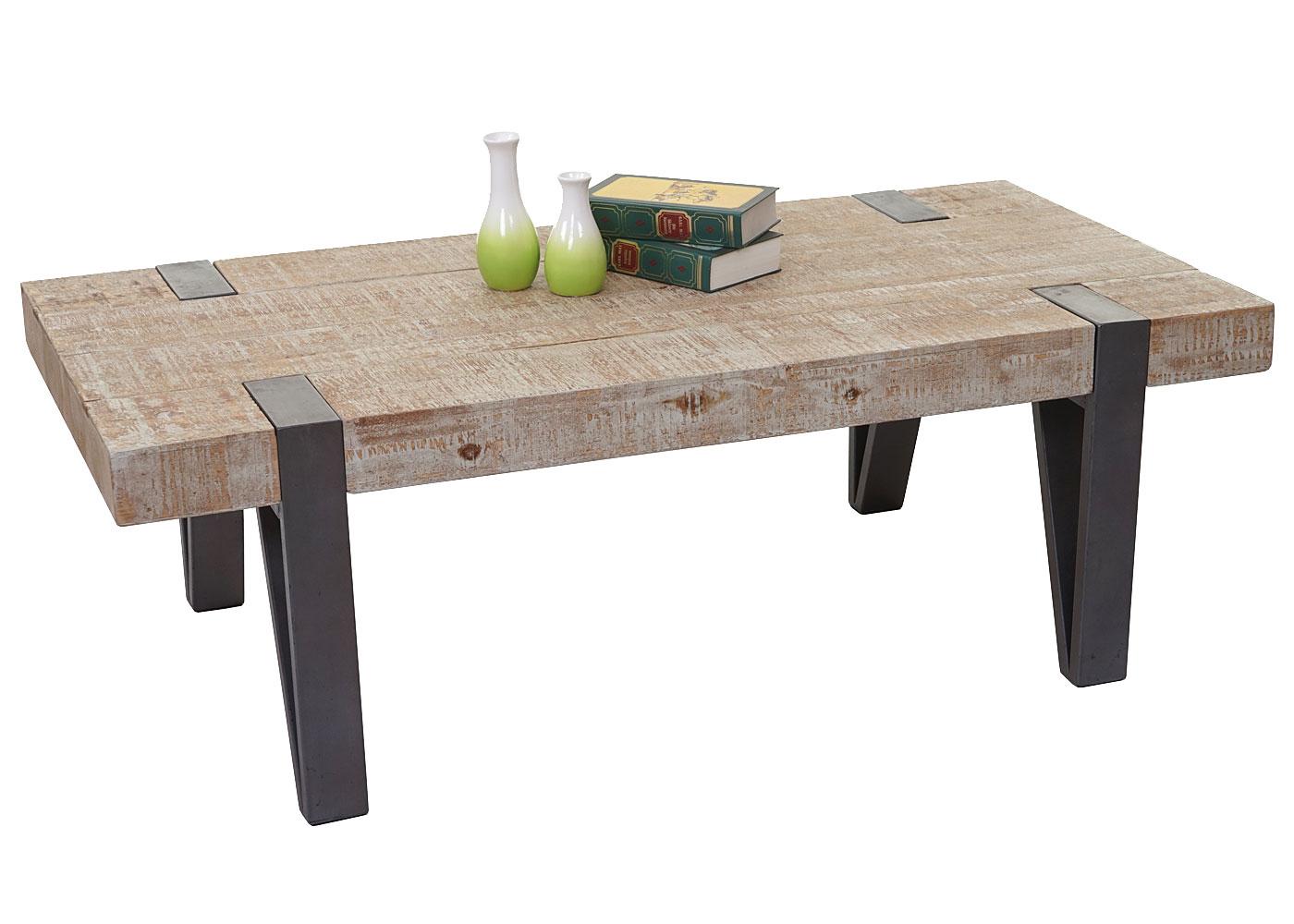 Table basse de salon hwc a15b sapin bois massif rustique - Table de salon rustique ...
